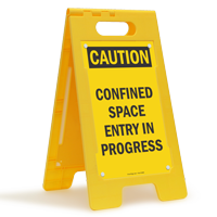 Caution Confined Space Fold-Ups® Floor Sign