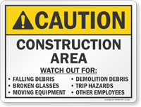 Construction Area ANSI Caution Sign