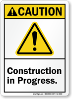 Construction In Progress ANSI Caution Sign With Graphic