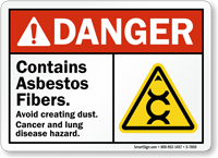 Contains Asbestos Fibers Avoid Creating Dust Sign
