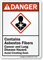 Contains Asbestos Fibers Cancer, Lung Disease Hazard Sign