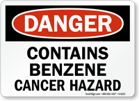 Contains Benzene Cancer Hazard Sign