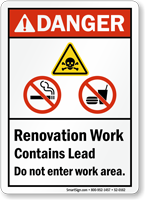 Renovation Work Do Not Enter Work Area Sign