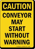 Caution Conveyor Warning Bilingual Sign