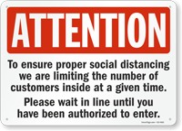 Attention Ensure Proper Social Distancing Sign