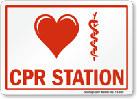 Heart Caduceus Snake Medical Symbol, CPR Station Sign