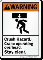 Crane Operating Overhead Crush Hazard Sign