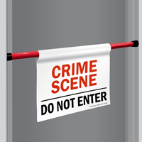Crime Scene Do Not Enter Door Barricade Sign