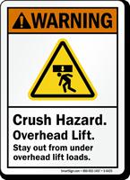 Crush Hazard Overhead Lift ANSI Warning Sign