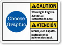 Custom Bilingual ANSI Caution Cuidado Warning Sign