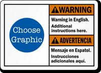 Custom Bilingual ANSI Warning Advertencia Sign