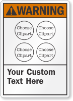 Custom ANSI Warning Sign with 4 Cliparts