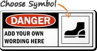 Custom Danger Wear Safety Shoes Symbol Sign