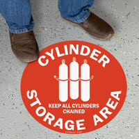 Cylinder Storage Area, Keep Cylinders Chained Floor Sign