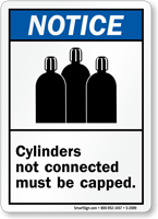 Cylinders Not Connected Must Be Capped Sign
