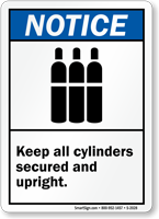 Notice (ANSI) Keep All Cylinders Sign