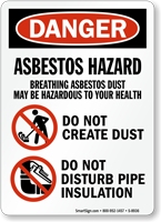 OSHA Danger Asbestos Hazard Breathing Sign