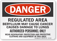 Danger Beryllium Cancer Lung Hazard Sign