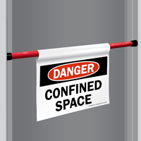 Danger Confined Space Door Barricade Sign