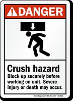 ANSI Crush Hazard Severe Injury May Occur Sign