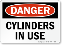 OSHA Danger Cylinders In Use Sign
