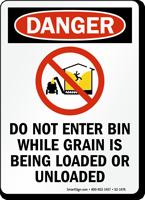 Dont Enter Bin While Loading/Unloading Grain Danger Sign