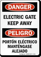 Electric Gate Keep Away Bilingual Sign