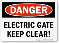 Danger Electric Gate Sign