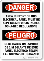 Electrical Panel Front Area Keep Clear Bilingual Sign