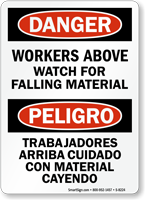 Danger Workers Above, Watch Falling Material Bilingual Sign