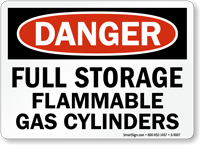 OSHA Full Storage Flammable Gas Cylinders Danger Sign