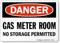 Danger Gas Meter Room Sign