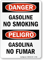 Gasoline No Smoking Bilingual Sign