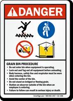 Danger, Grain Bin Procedure Sign