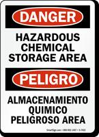 Hazardous Chemical Storage Area Bilingual Sign