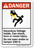 Hazardous Voltage Inside, Can Shock, Burn Sign