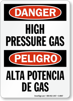 Danger Bilingual High Pressure Gas Sign