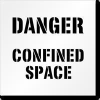 Floor Stencil -Danger:Confined Space Sign
