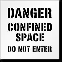 Floor Stencil - Danger: Confined Space Sign