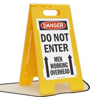 OSHA Danger Men Working Overhead Sign
