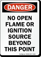 Danger No Open Flame Sign