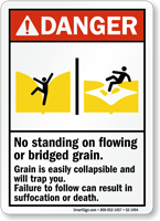 No Standing on Flowing Grain, Suffocation Hazard Sign
