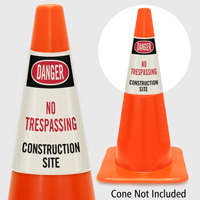 Danger No Trespassing Construction Site Cone Collar