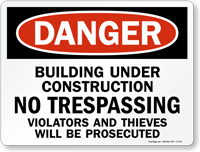 Danger Building Under Construction Sign