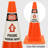Danger Persons Working Above Cone Collar