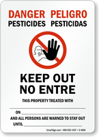Bilingual Pesticides, Keep Out No Entre Sign