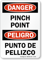 Bilingual Danger Pinch Point Sign