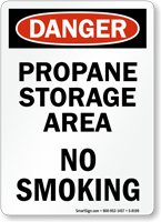 Danger Propane Storage Area Sign