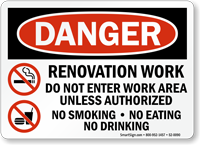 Renovation Work, No Smoking OSHA Danger Sign