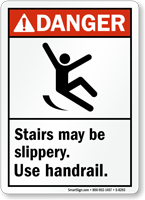 Danger Stairs Slippery Sign